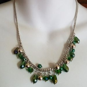 Jewelry - Beaded emerald green necklace with earrings